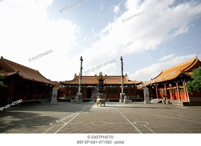 a front view of Dazhao Temple in Inner Mongolia Museum