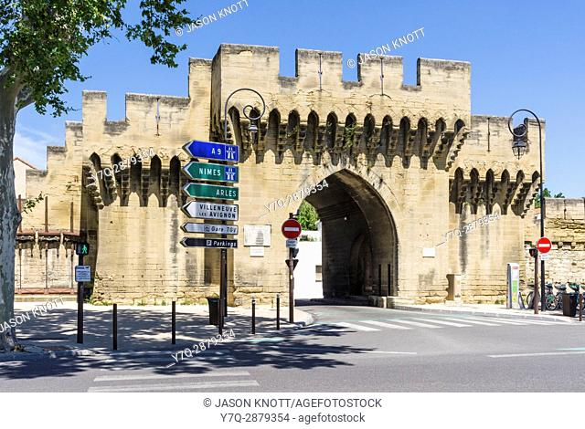 Gateway to the medieval walled city of Avignon at Porte Saint Roch, Avignon, Vaucluse, Provence-Alpes-Cote d'Azur, France