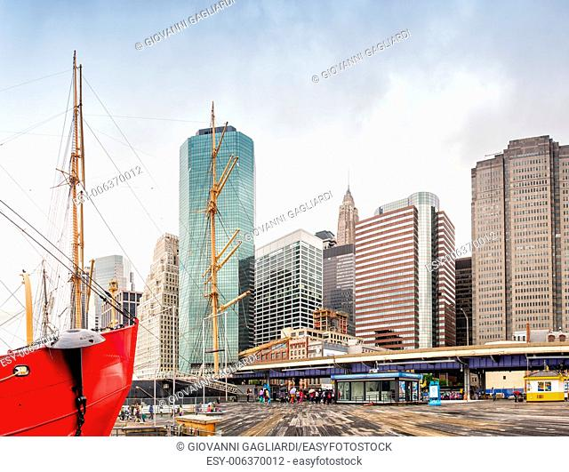 NEW YORK CITY: South Street Seaport and Pier 17 in Lower Manhattan. The area includes modern tourist malls featuring food, shopping and nightlife