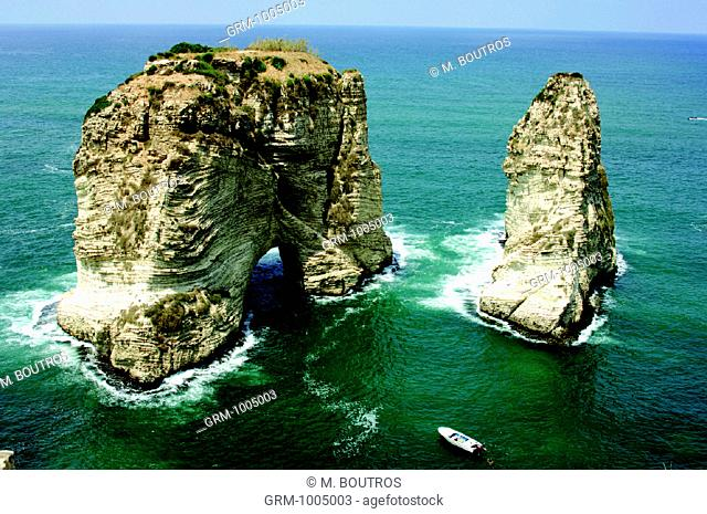 Al Rawcheh Rock near Beirut, Lebanon