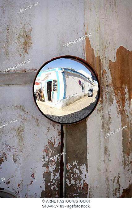 Reflection in a road mirror, Aljezur, Algarve, Portugal