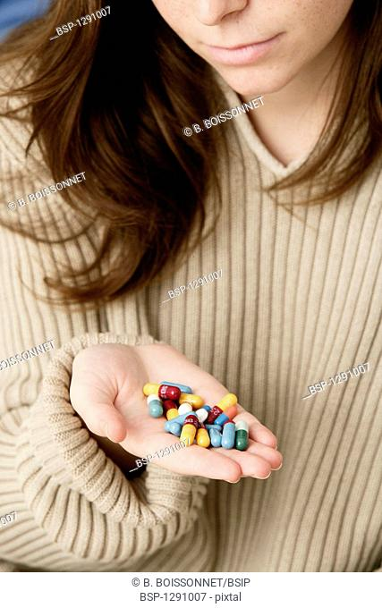 WOMAN TAKING MEDICATION Model