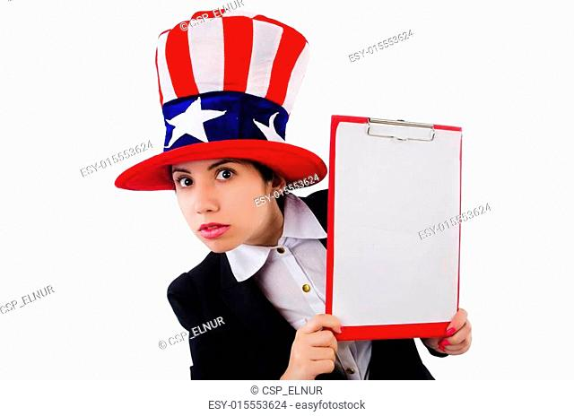 Woman in american hat with blank page on white