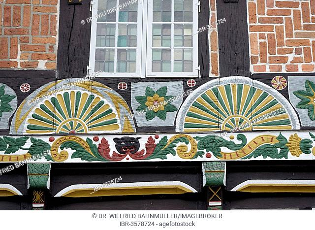 Half-timbered house with painted fan rosettes, Verden - Aller, Lower Saxony, Germany