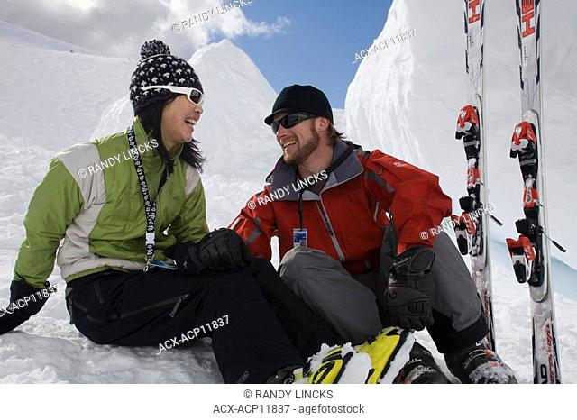 A couple enjoying a break from skiing, Whistler, British Columbia, Canada