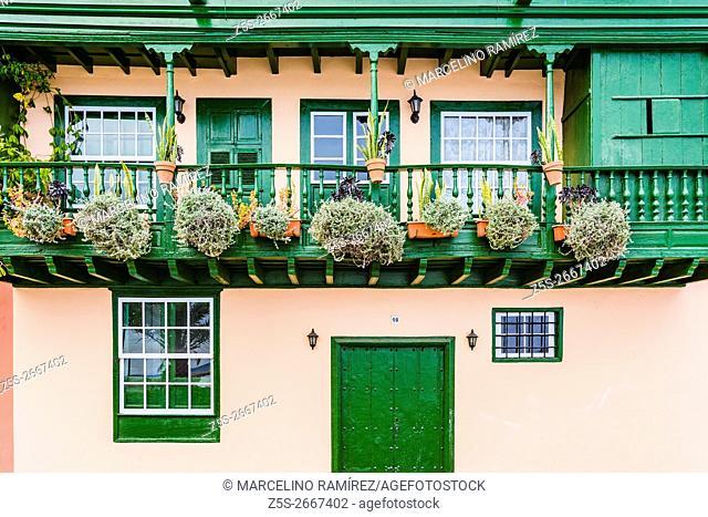 Houses with balconies in Santa Cruz de La Palma. La Palma. Tenerife. Canary Islands. Spain