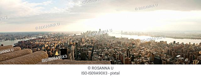 High angle view of Manhattan skyline, New York, USA
