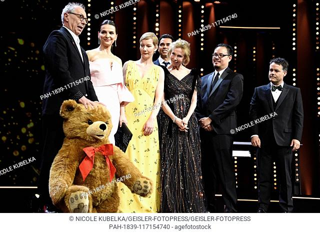Dieter Kosslick gets a big plush bear presented by the jury during the closing ceremony at the 69th Berlin International Film Festival / Berlinale 2019 at...