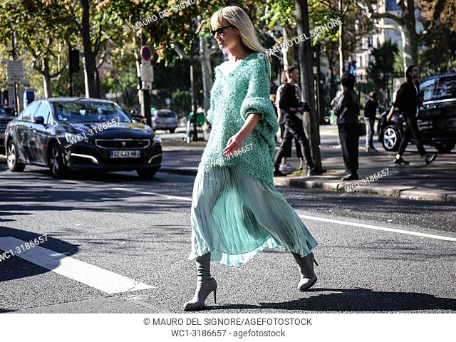 PARIS, France- September 26 2018: Jeanette Friis Madsen on the street during the Paris Fashion Week