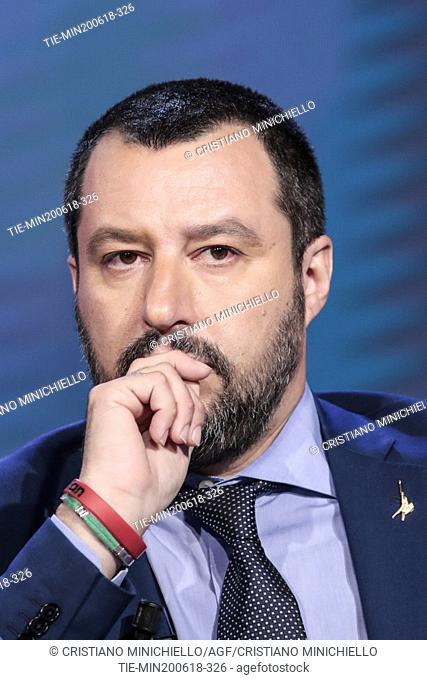Minister of Interior Matteo Salvini during the tv show Porta a porta, Rome, ITALY-20-06-2018