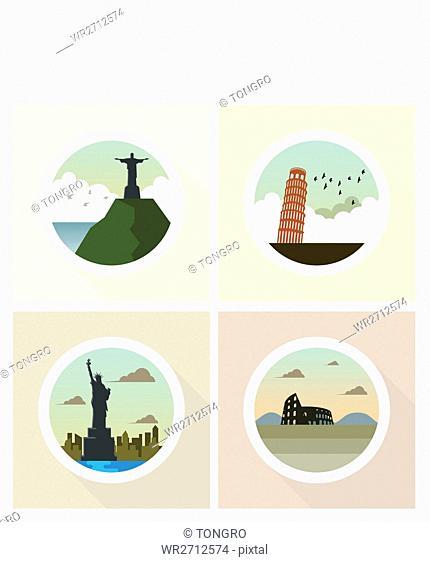 Icons of global landmarks