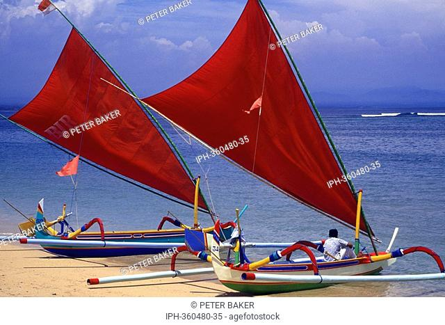 Bali - Unique sailing boats on Sanur Beach