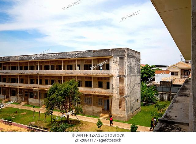 view of formerly prison Tuol Sleng, Phnom Penh, Cambodia