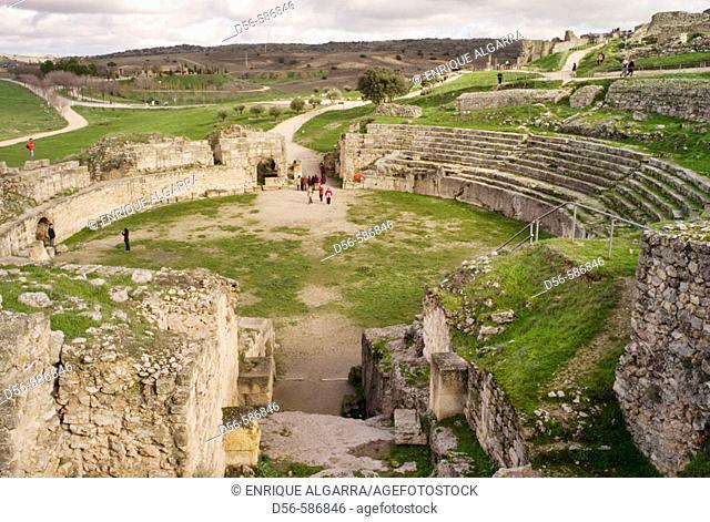 Segobriga archeological site. Roman ruins, amphitheatre near Saelices. Cuenca province, Castilla-La Mancha. Spain