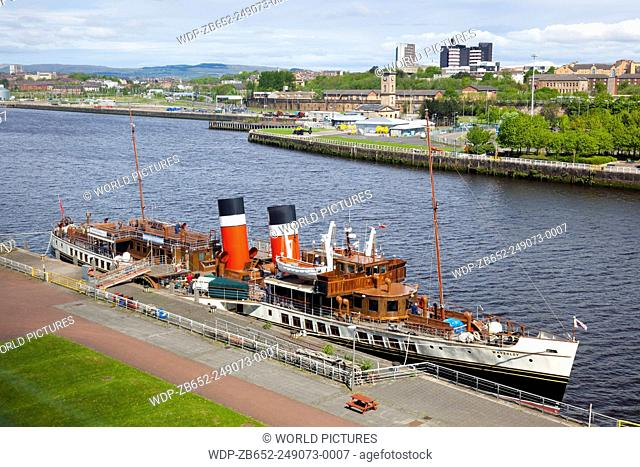 Waverley Paddle Steamer docked at the River Clyde, Glasgow, Scotland, UK
