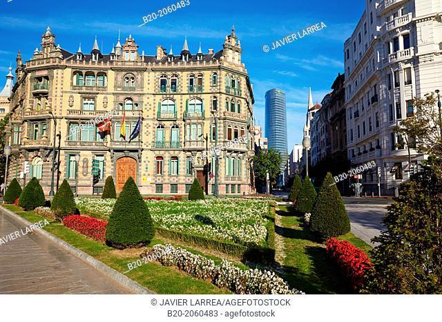 Plaza Federico Moyua and Iberdrola Tower, Bilbao, Bizkaia, Basque Country, Spain