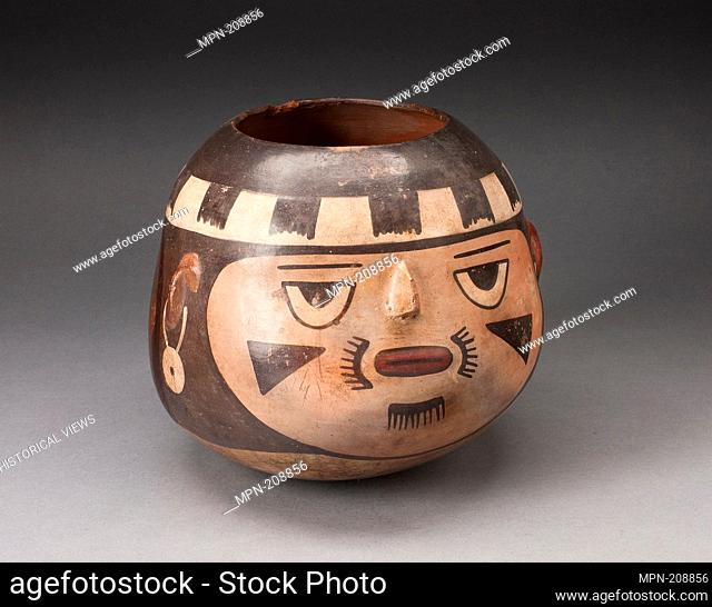 Jar in the Form of a Abstract Human Face with Modeled Facial Features - 180 B.C./A.D. 500 - Nazca South coast, Peru - Artist: Nazca, Origin: Peru