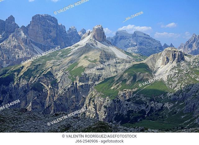 Landscape next to the Three Peaks of Lavadero. Dolomites of Auronzo. Italy