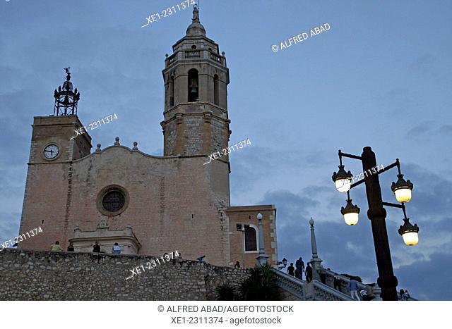 Church of Sant Bartomeu i Santa Tecla at sunset, Sitges, Catalonia, Spain