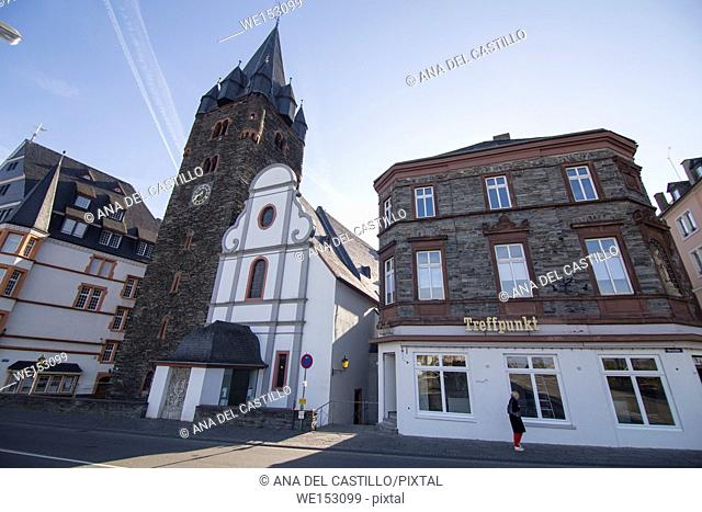 Bernkastel-Kues - town in Rhineland-Palatinate region of Germany St. Michael's Church and medieval tower