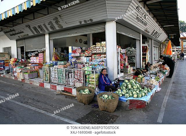 View of a local supermarket near the Longneck village Approximately 300 Burmese refugees in Thailand are members of the indigenous group known as the Longnecks...