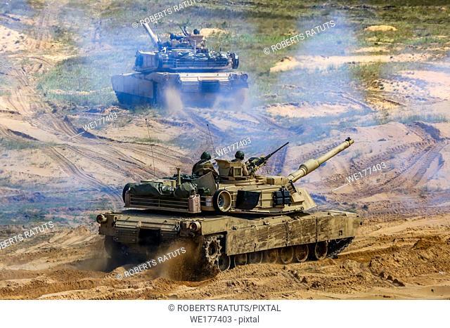 "Tanks Abrams in Latvia. International Military Training """"Saber Strike 2017"""", Adazi, Latvia, from 3 to 15 June 2017. US Army Europe-led annual International..."