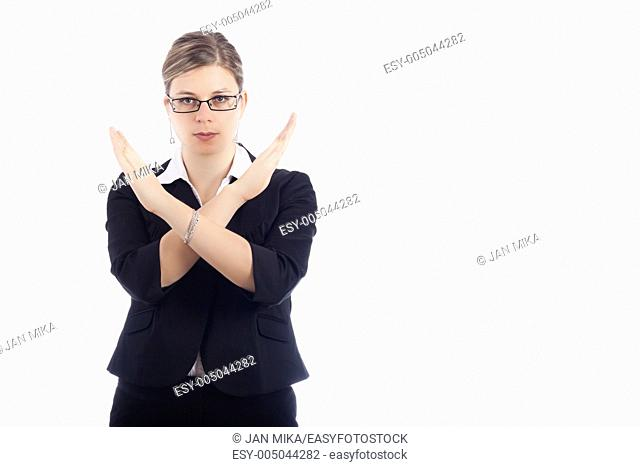 Young woman gesturing with hands stop, isolated on white background