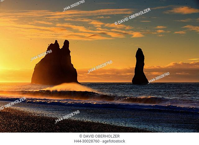 Surf, Europe, rock formations, rock needles, Island, coast, sceneries, light mood, sea, morning mood, Reynisdranger, sunrise, beach, volcano island, water