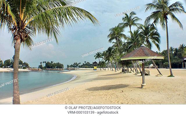 Siloso Beach on the island resort of Sentosa in Singapore
