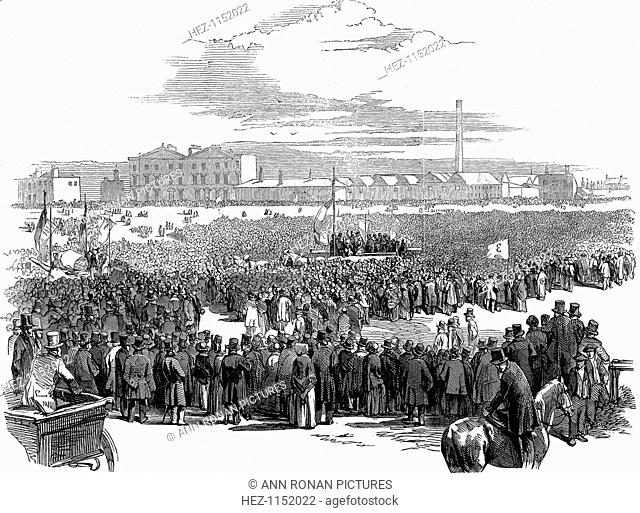 Mass meeting of Chartists on Kennington Common, London, 10 April 1848. In centre is the wagon carrying Feargus O'Connor and the other delegates
