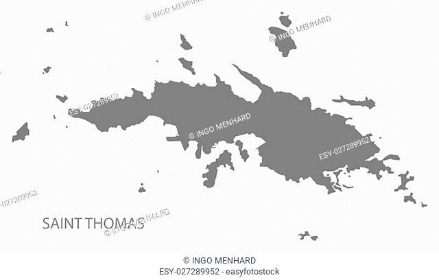 Saint Thomas United States Virgin Islands Map in grey