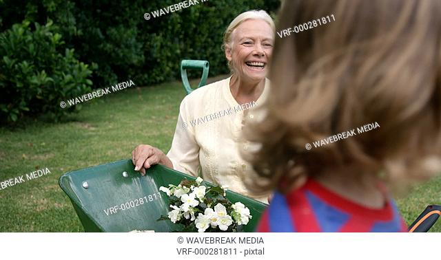 Grandmother and child smiling
