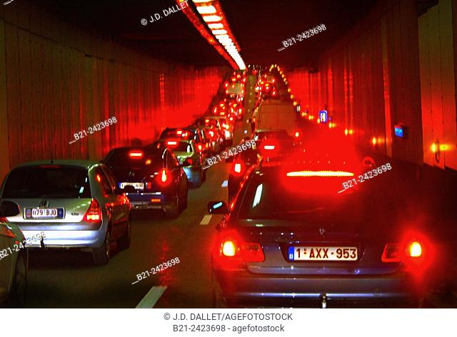 Traffic in a tunnel at Brussels centrum, Belgium