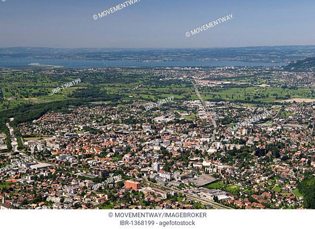 View from Mt. Karren on the Dornbirn town and Lake Constance, Dornbirn, Vorarlberg, Austria, Europe