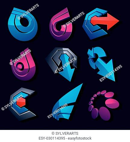 Vector multimedia signs collection isolated on black background. 3d colorful abstract design elements, can be used in web and graphic design and as marketing...