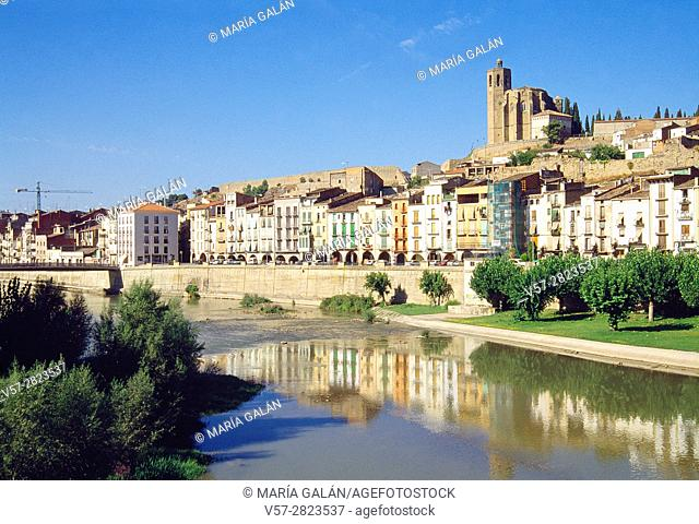 Overview and reflection on river Segre. Balaguer, Lerida province, Catalonia, Spain