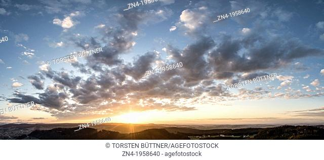 Sunset as Seen from Low Mountain Range Hausruck. Austria