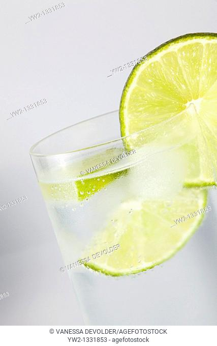 Lime slice on a glas with ice  Studio photograph