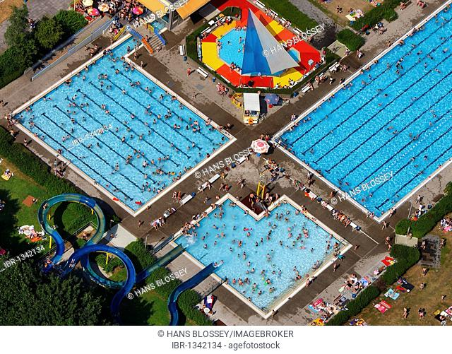 Aerial view, open air pool, Hamm, North Rhine-Westphalia, Germany, Europe