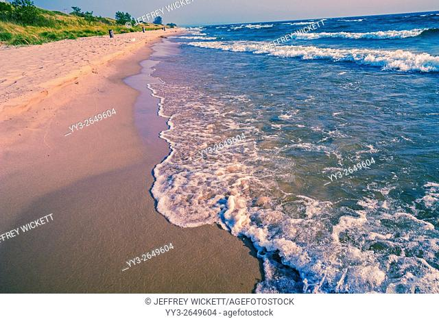 The shores of Lake Michigan at Ludington Dunes State Park, Michigan, USA
