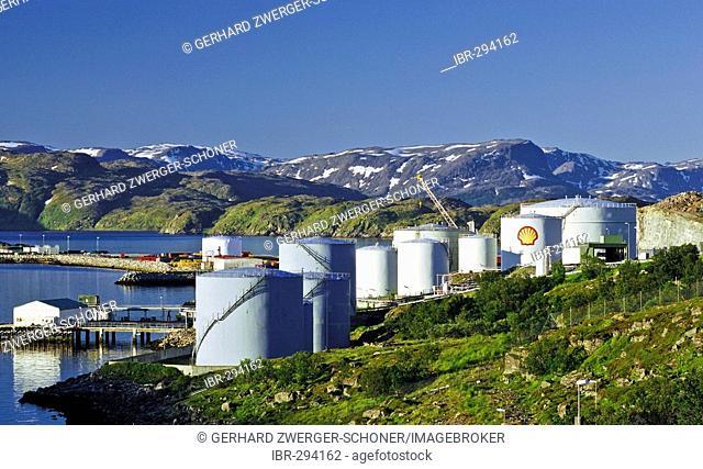 Oil tanks near Hammerfest, Northern Norway, Norway