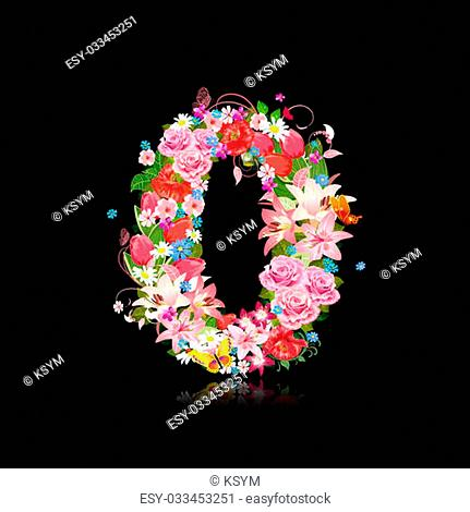 Romantic number of beautiful flowers 0