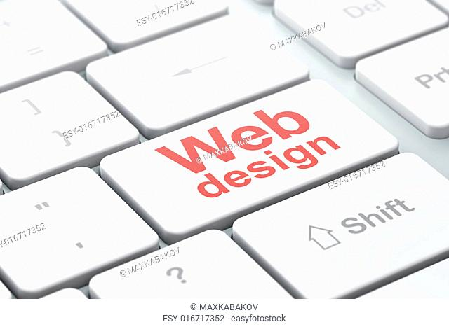 SEO web design concept: computer keyboard with word Web Design, selected focus on enter button background, 3d render