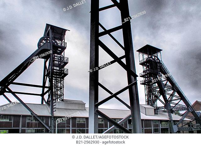 Headframes of the former Bois du Cazier mine, Marcinelle, in the affected industrial area of the Sambre coal basin, Belgium