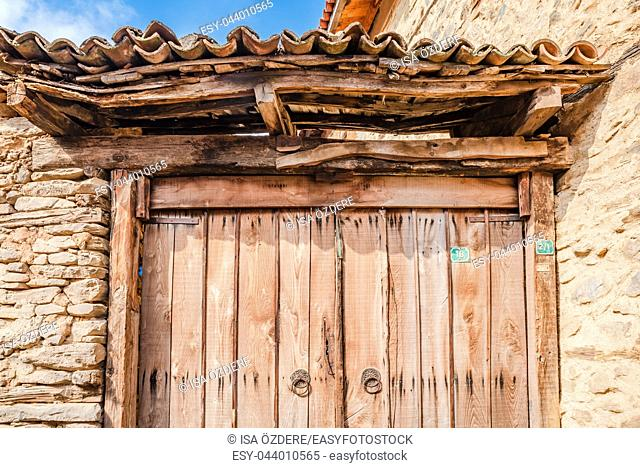 View of historical house door at Cumalikizik village,a popular destination for Tourists and locals in Bursa,Turkey