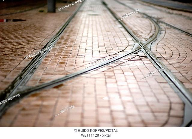 Rotterdam, Netherlands. Trolley car tracks in the streets of down town Rotterdam