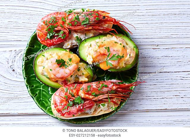 Shrimp pinchos with avocado Spain tapas recipe food pintxos