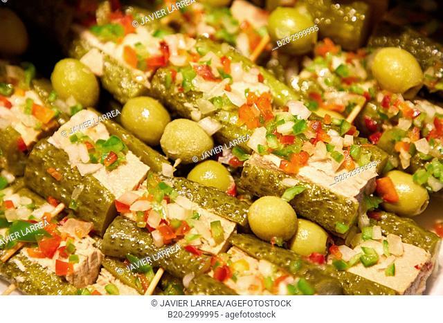 Pickles, Pintxos, Bar Restaurante Portaletas, Parte Vieja, Old Town, Donostia, San Sebastian, Gipuzkoa, Basque Country, Spain