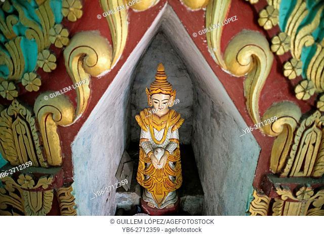 Buddha statue in a pagoda in Sagaing Hills, near Amarapura, Myanmar