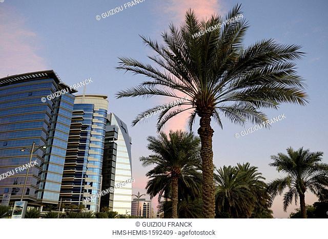 United Arab Emirates, Dubai, the area of Deira along the shore of Dubai Creek, the buildings of Baniyas road with the Easa Saleh Al Gurg tower built in 2002...